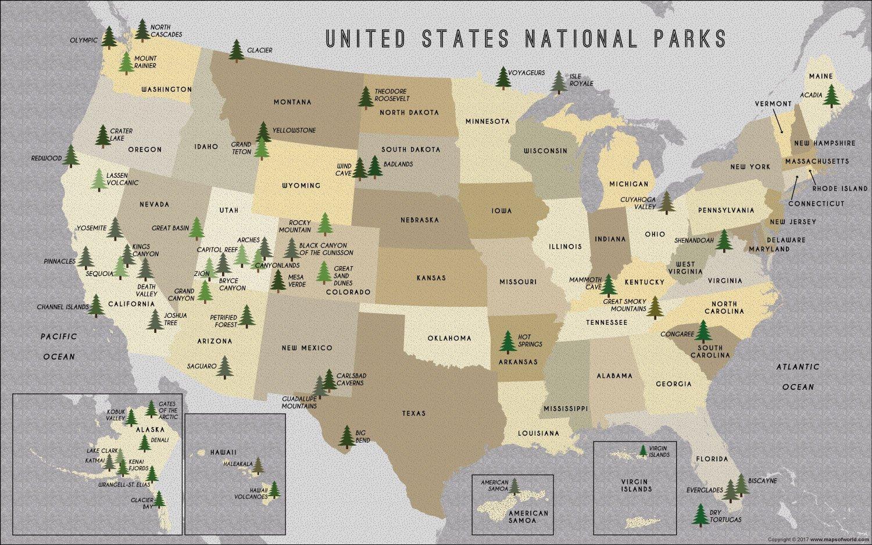 Mapa Narodnich Parku V Usa Narodni Parky Usa Mapa Severni