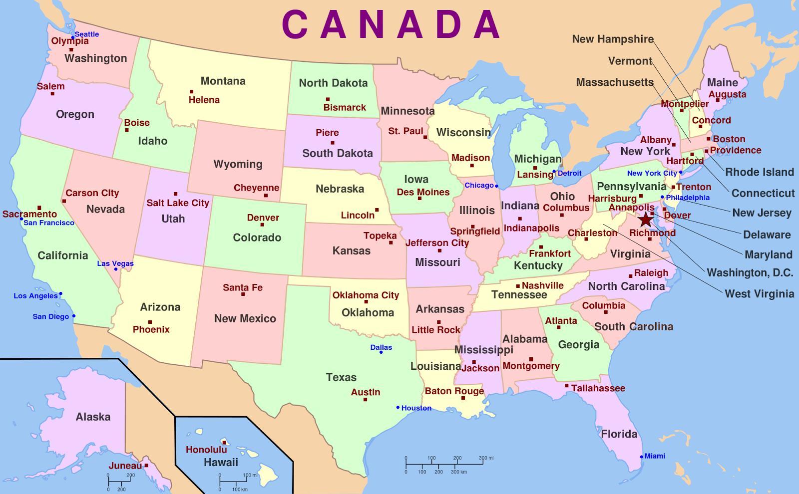 Mapa Spojene Staty Kapitaly Mapa Spojene Staty A Hlavni Mesta