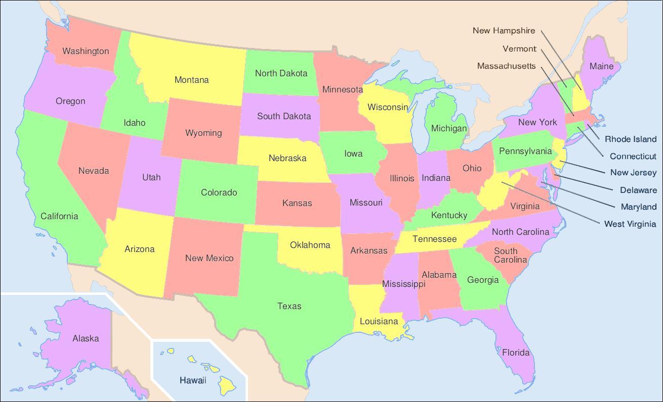 Mapa Usa Staty S Nazvy Staty Usa Mapa S Nazvy Severni Ameriky