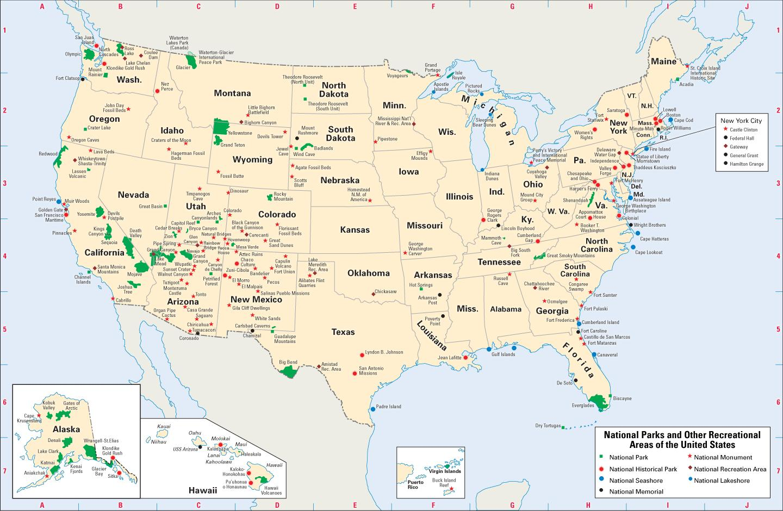 Narodni Parky V Usa Mapa Mapa Narodnich Parku V Usa Severni
