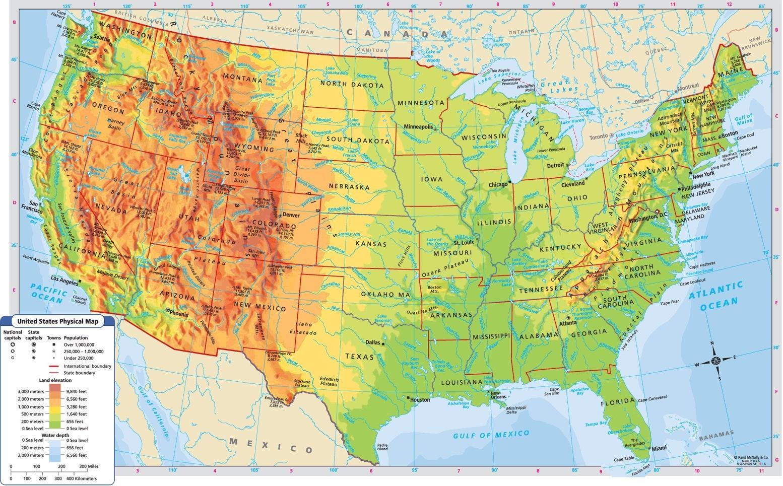 Nadmorska Vyska Mapa Usa Nadmorske Vysky Mapa Usa Severni