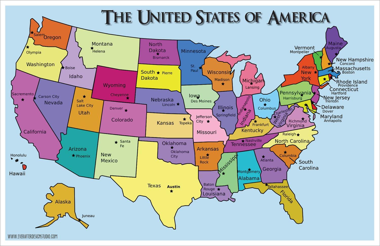 Usa Staty Mapa Mapa Statu Usa Severni Amerika Amerika