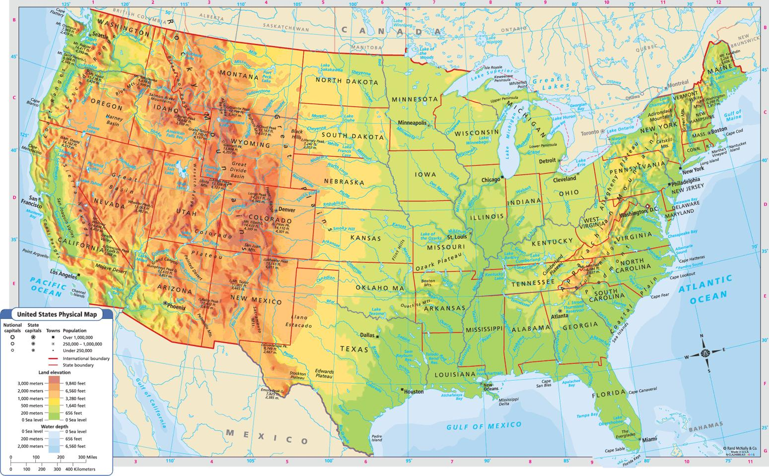 Geograficka Mapa Usa Zemepisna Mapa Spojenych Statu Severni